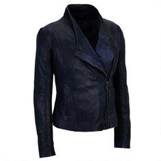 Cigno Nero Yang Asymmetric Zip Leather Jacket