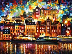 "STOCKHOLM — Palette Knife Oil Painting On Canvas By Leonid Afremov Size: 40""x30"" 