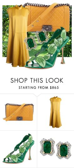 """""""green street"""" by fashionista-763 on Polyvore featuring мода, Chanel, Valentino и Manolo Blahnik"""