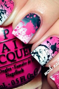 pink and black splatter nails