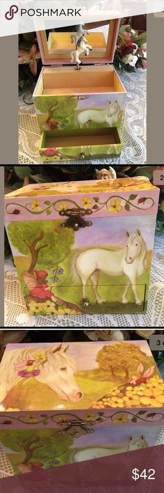"""Enchantmints Fairy Horse Jewelry Box & Music Box An absolutely adorable, vintage, Enchantmints  Fairy Horse jewelry and music box in great condition.  The music box depicts colorful fairies and ponies frolicking in a summer garden and has many little drawers to tuck away treasures. Upon opening, a little white pony springs up and """"In The Good Old Summertime"""" plays.  It measures 6"""" long, 4"""" wide, 6"""" high. Please see photos for details. Enchantmints Other"""