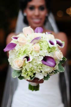 Beautiful floral bouquet with roses and purple accents.  Who says you can't use purple and green for a fall wedding? | Two Bright Lights :: Blog Photo Credit: Larsen's Photography