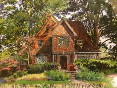 Amazingly detailed watercolour! Finding A House, Local Artists, Watercolour, Around The Worlds, House Styles, Amazing, Places, Painting, Design