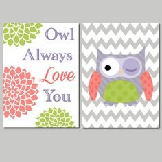 Cute Owl Always Love You Theme Pink Purple Green Floral Chevron Artwork Set of 2 Prints 8x10 Wall Decor Art Girl Nursery Modern Picture