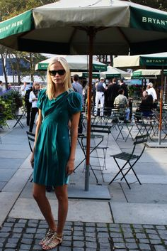 Turquoise dress and silver sandals