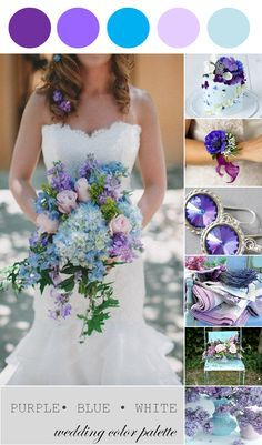 Wedding Color Palette | Purple, Blue and White - www.theperfectpalette.com - Color Ideas for Weddings + Parties