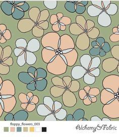 FLOPPY FLOWERS ON green  floral , floral pattern , floral design , flower design Alchemy, Flower Designs, Floral Design, Kids Rugs, Green, Flowers, Fabric, Pattern, Home Decor