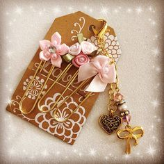 Gold Ribbon Crystals and Pearls, Gold Tone Planner Charm BONUS Paper clips for Planner Gillio Kikki.K, Daytimer Filofax Purse or Key Charm