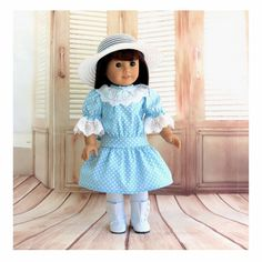 Samantha's Garden Party - American Girl Doll Clothes 1900s Dress and Sunbonnet Doll Outfit