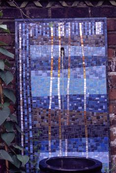 Into the blue.....mosaic water feature