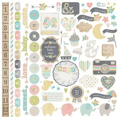 Simple Stories - Hello Baby Collection - 12 x 12 Cardstock Stickers - Fundamentals at Scrapbook.com