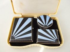 Sun Ray Guilloche Handbag Set   1920's silver and navy blue guilloche enamel three piece ladies handbag set