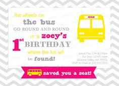 Custom SCHOOL BUS Birthday Invitation Printable by mistyprints