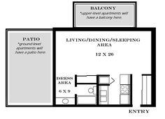 Studio Apartment Size studio blueprints | studio apartments include a full size kitchen