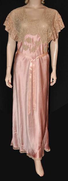 Stunning Satin Duchene! 1930s Silk Satin Bias-Cut Nightgown, via Silver Screen Loungerie.