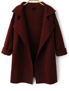 Wine Red klopu s dlouhým rukávem Loose Knit Coat -SheIn (Sheinside)