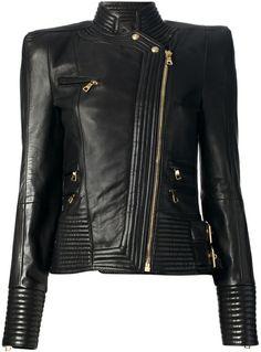 BALMAIN Black Lambskin Biker Jacket - Lyst