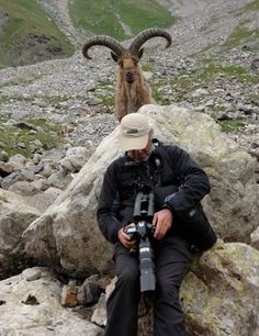 Photobombing the photographer. This delightful picture was taken at the Kabardino-Balkaria reserve in Russia. Commenters believe this goat is either a Caucasian Tur or an Alpine ibex. Either way, it's a big goat!