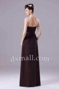 Empire Wedding Guest Dresses Strapless Floor Length Taffeta Chocolate 130010300168