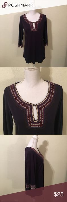 Lucky Brand Top!! Lucky Brand Top.  Navy blue with cream, violet and blue accents.  Excellent condition. Lucky Brand Tops
