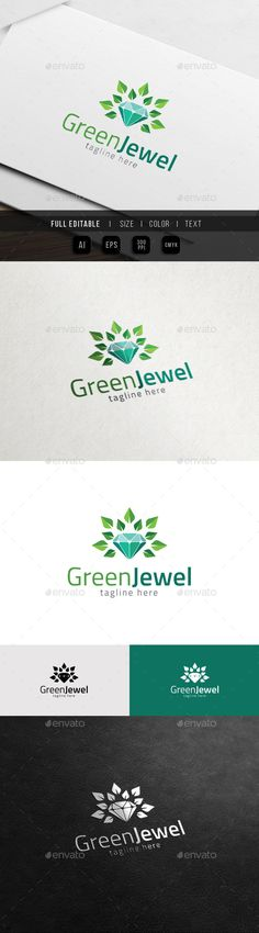 Natural Jewel  Green Gem Logo — Vector EPS #gem #stone • Available here → https://graphicriver.net/item/natural-jewel-green-gem-logo/11548296?ref=pxcr