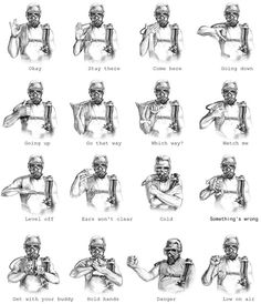 Once you get the attention of your scuba diving buddy, usually done by rapping on your tank with a hard object, use these hand signals to communicate the most common messages underwater: