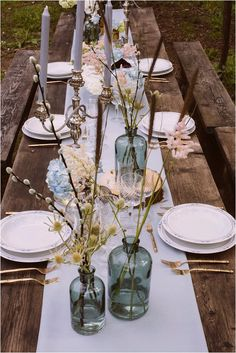 Meadow inspired wedding table centerpieces