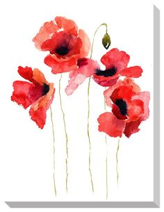 Stock image of 'stylized poppy flowers illustration' watercolor art, watercolor poppy tattoo, Watercolor Poppy Tattoo, Poppies Tattoo, Watercolor Poppies, Watercolor Cards, Watercolor Paintings, Tattoo Flowers, Watercolors, Motif Floral, Arte Floral