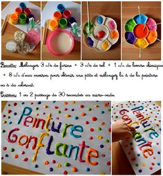 In the morning with my kids we finally tested the PUFFY PEINT – this famous magic paint that swells in the microwave! We paint, we observe the chemical reaction which … Puffy Paint, Diy For Kids, Crafts For Kids, Micro Onde, Art Education, Education Quotes, Kids And Parenting, Activities For Kids, Diy And Crafts