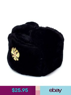 842c6d34ffe3c Hats Russian Authentic Black Ushanka Military Hat With Soviet Imperial Eagle  Emblem