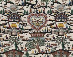 Tissu Montana Pierre Frey  142 cm réf. 2337001 fond écru  coton imprimé motifs montagne en été , chevreuils, chalets