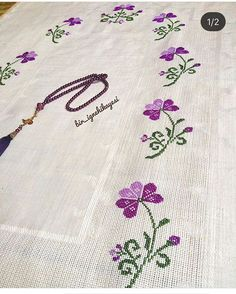 No photo description available. Crewel Embroidery, Cross Stitch Embroidery, Embroidery Patterns, Cross Stitch Borders, Cross Stitch Designs, Palestinian Embroidery, Prayer Rug, Diy Curtains, Bargello