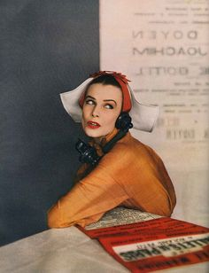 April Harper's Bazaar 1950 weird photo and hat, but i LOVE the orange silk