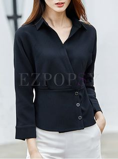 Shop for high quality Fashion Turn Down Collar Slim Blouse online at cheap prices and discover fashion at Ezpopsy.com