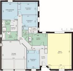 plan de maison plain pied en l | plan plein pied maison ... - Plan Maison Plain Pied Gratuit 3 Chambres