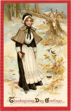 Pretty Thanksgiving Pilgrim Lady Image! - The Graphics Fairy