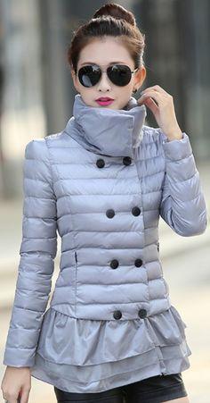 Elegant Layered Down Jacket Turtleneck Collar YRB0387 £39.00