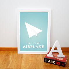 Alphabet poster Retro airplane origami by fromparistohelsinki, €14.00