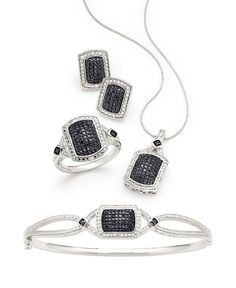 stand out �C four piece white and color-enhanced black diamond jewelry set finishing touches |Jewelry - Daily Deals| black diamond jewelry