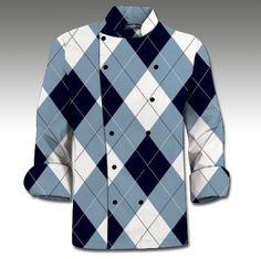 Blue & White Loudmouth Golf MENS Made To Order Chef Coat.  Buy it @ ReadyGolf.com