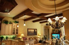 Speir Faux Finishes - Faux wood grain finish on drywall beams and color washed walls.