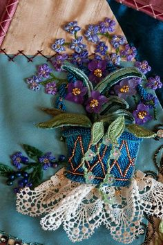 silk ribbon embroidery - beautiful work ******************************************** (repin) #ribbonwork #embroidery