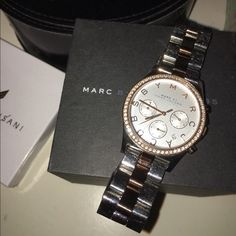 ✨Marc Jacobs Gold & Stainless Steal Watch✨ Pre-Loved! Worn a bunch of times! Love this watch! Just replaced battery December 2015! Works perfectly! Box and all links included! If any questions please ask! See all pictures before purchasing! Also on Ⓜ️ercari for $50!! Marc by Marc Jacobs Accessories Watches