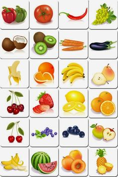 Free printable memory game with cards of fruits and vegetables. Simply print and cut it to make an original memory game homemade to play with family or friends Free Printable Flash Cards, Free Printables, Food Flashcards, Game Fruit, Vegetable Prints, Fruits For Kids, Fruit Picture, Memory Games For Kids, Food Games For Kids