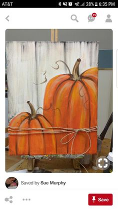 Fall Canvas Painting, Autumn Painting, Autumn Art, Diy Painting, Halloween Wood Crafts, Fall Crafts, Fall Halloween, Pallet Pumpkin, Pumpkin Art