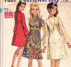 "Vintage 60s ""Simples Costurar"" Jiffy Costura Padrão Mod VESTIDO gola mandarim mangas sino - tamanho 14 - busto 36 ""(91 cm) - Simplicidade 7897"