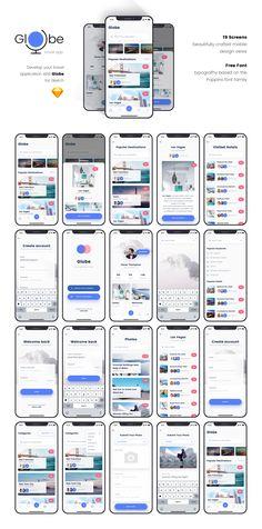Globe Travel app — UI Kits on - Design Ios App Design, Mobile Ui Design, Android App Design, Web Design, Graphic Design, Mobiles Webdesign, Arduino, Mobile App Ui, Mobile Web