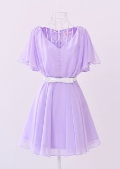 Vintage V-neck Butterfly Sleeve Dress Pretty Outfits, Pretty Dresses, Beautiful Dresses, Cute Outfits, Dress Outfits, Fashion Dresses, Quince Dresses, Kawaii Clothes, Simple Dresses