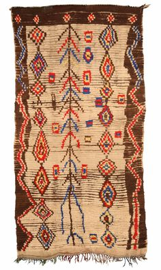A Moroccan Rug BB5140 - by Doris Leslie Blau. A Vintage Moroccan Rug with a directional tribal design .