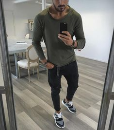 Green long sleeve distressed black jeans and #sneakers [ http://ift.tt/1f8LY65 ]